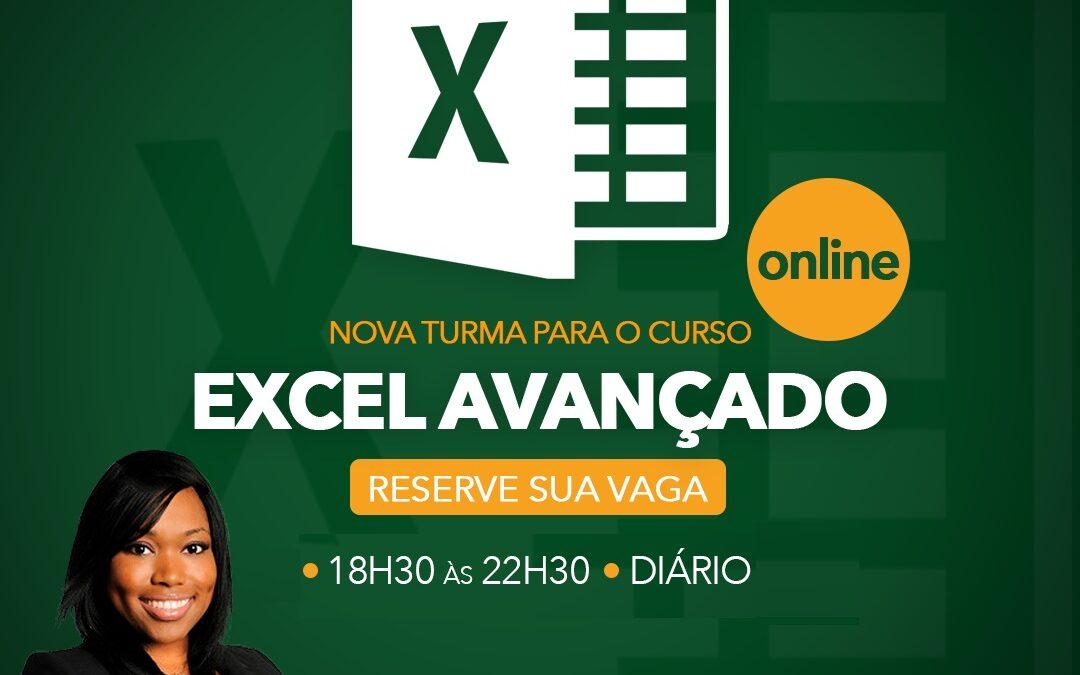 Excel Avançado ONLINE – 18:30 às 22:30h – Inicio: 17/05/2021
